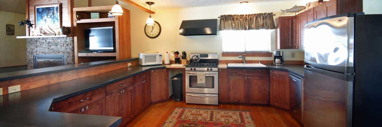 Kitchen of Golden Stone Cabin on Rock Creek