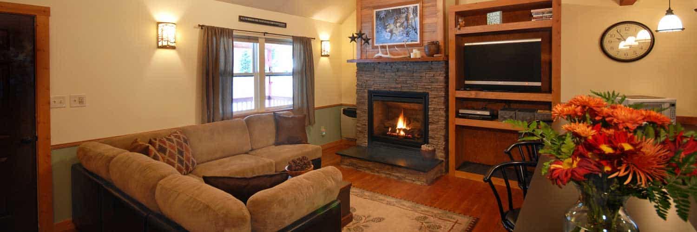 Livingroom of Golden Stone Cabin on Rock Creek