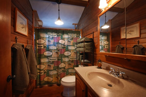 Bathroom in Log Cabin Vacation Rental