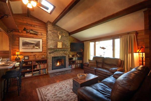 Log Cabin Living Room Rock Creek Montana