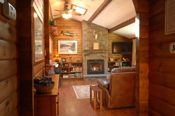 View of Fireplace at VRBO rental on Rock Creek in Montana