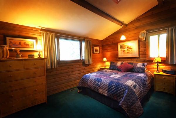 Master Bedroom at Log Cabin Vacation Rental on Rock Creek