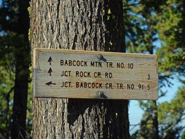 Trail sign at top of Trail 10 in Rock Creek